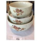 Three pc set of vintage mixing bowls