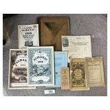 Nine pc. Antique/vintage books and ephemra