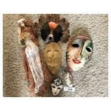 Six pc. vintage handcrafted masks