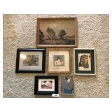 Six framed pieces of artwork