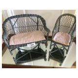 Vintage doll wicker furniture set