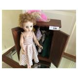 Vintage wooden doll armoire, and vintage doll clot
