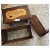 One vintage stool. 2 wooden vintage book holders
