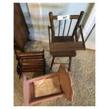 Three pc. Vintage doll furniture