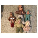 Five vintage cloth dolls
