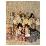 Nine vintage dolls