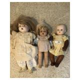 Three vintage dolls