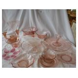 13 pcs. of pink depression glass