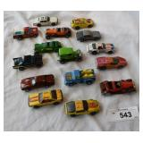 15 pc. assortment of vintage hotwheels cars.