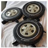 Three vintage wheel cases of toy cars