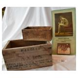 Vintage wooden boxes, calendar.