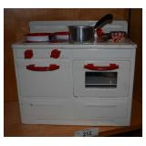 Vintage Style Metal Doll Stove w/ Cookware