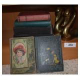 8 pcs. Vintage Books & Pair of Bookends