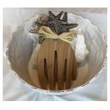 Vintage Decorator Bowl w/ Wooden Salad Utensils
