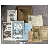 9 pcs. Antique / Vintage Books & Ephemera
