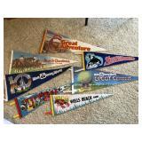 9 pcs. Vintage Sport Pennant Flags