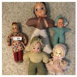 5 pcs. Vintage Cloth-body Dolls