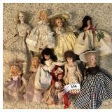 9 pcs. Vintage Dolls