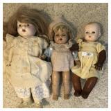 3 pcs. Vintage Dolls