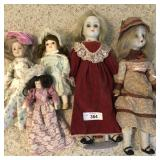 5 pcs. Porcelain Dolls