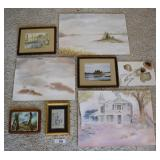 8 pcs. Watercolor paintings & Framed Art