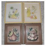 4 pcs. Vintage Framed Wall Art