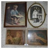 4 pcs. Framed Antique / Vintage Photos & Prints