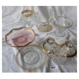 8 pcs. Vintage Gilt Trimmed Glassware