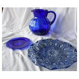 Cobalt Glass Pitcher, Plate & Platter
