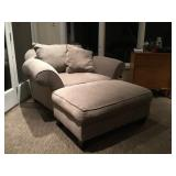 Super Comfy Extra Wide Upholstered Chair & Ottoman