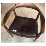 Norweigan Barrel-back Chair w/ Leather Seat