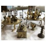 45 + pieces of vintage brass dollhouse furniture +