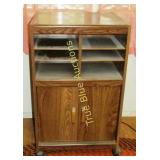Wood Cart with Cabinet on Wheels