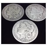 3 MORGAN SILVER DOLLARS, (2) 1889, (1) 1887