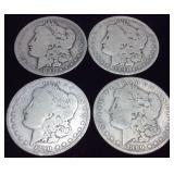4 SILVER MORGAN DOLLARS, (2) 1891, (2) 1890