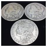 (3) 1899 MORGAN SILVER DOLLARS, NEW ORLEANS MINT