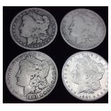 4 MORGAN SILVER DOLLARS (2) 1899, (1) 1897, (1)