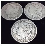(3) 1900 MORGAN SILVER DOLLARS, NEW ORLEANS MINT