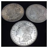 (3) 1921 SILVER MORGAN DOLLARS 90% SILVER