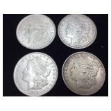 (4) 1921 MORGAN SILVER DOLLARS 90% SILVER