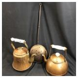 3 VINTAGE BRASS & COPPER TEAPOTS AND HAND FORGED