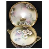 HAND PAINTED NIPPON HANDLED BOWL & TIDBIT TRAY
