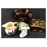 USA TULIP PITCHER, JAPAN HEAD VASE, CANDY DISH LOT