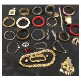VINTAGE COSTUME JEWELRY, BRACELETS, WATCHES LOT