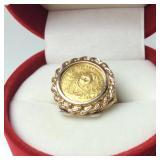 3.3 DWT 14KT / .999 PANDA COIN RING ROPE BEZEL