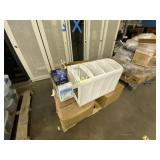 Pallet of Table Cloths Trophy, & Plastic Ware