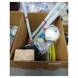 Box Lot of Levels, Sandpaper and More