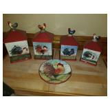 Rooster canister set and plate