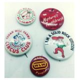 5 Misc vintage Cincinnati pin backs
