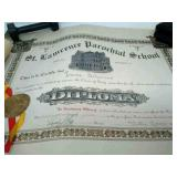 Vintage 1919 St Lawrence Diploma and  1930 Holy